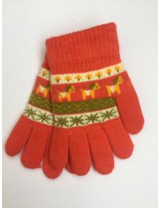 Перчатки осенние кораллового цвета с изображением пони