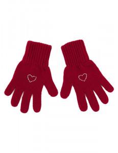 "Перчатки для девочки красного цвета ""Валентинка"""