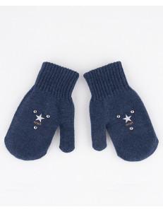 Варежки зимние синего цвета со звездами АЛЕКС